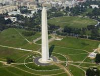 Washington Monument and arial view of Washington D.C.